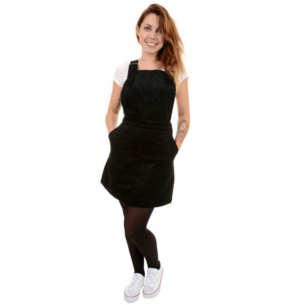 Corduroy Pinafore Dress black