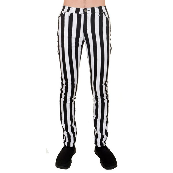 Unisex Striped Skinny black & White Stretch-Jeans