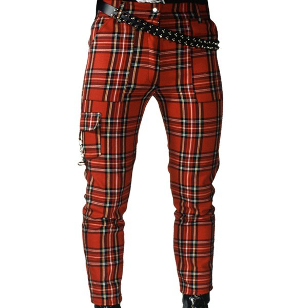 Pure Shark Red Tartan Punk Trousers