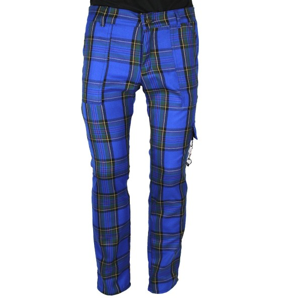 Pure Shark Blue Tartan Punk Trousers