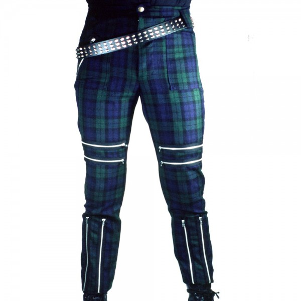 Classic Shark Green Blue Tartan Punk Trousers