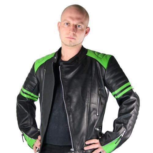 Retro Lederjacke Old School black green Gr XL B-Ware