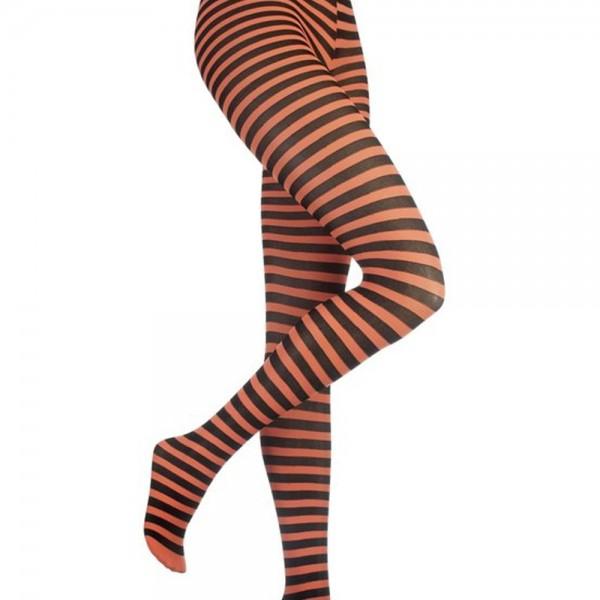 Ringer Tights Black Neon Orange striped
