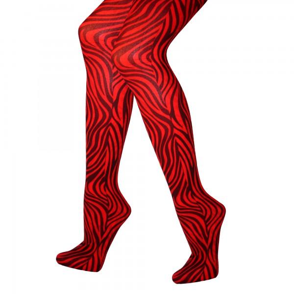 Strumpfhose Zebra Rot