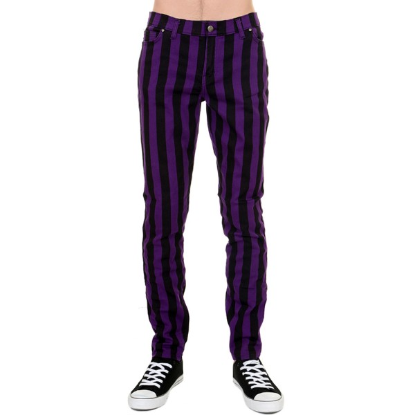 Unisex Striped Skinny black & purple Stretch-Jeans