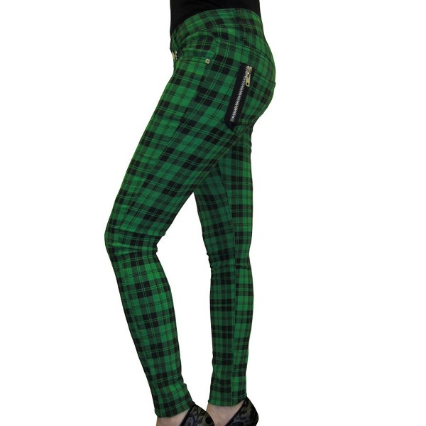 Banned Check Skinny Jeans green
