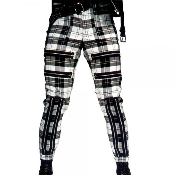 Classic Shark White Tartan Punk Trousers