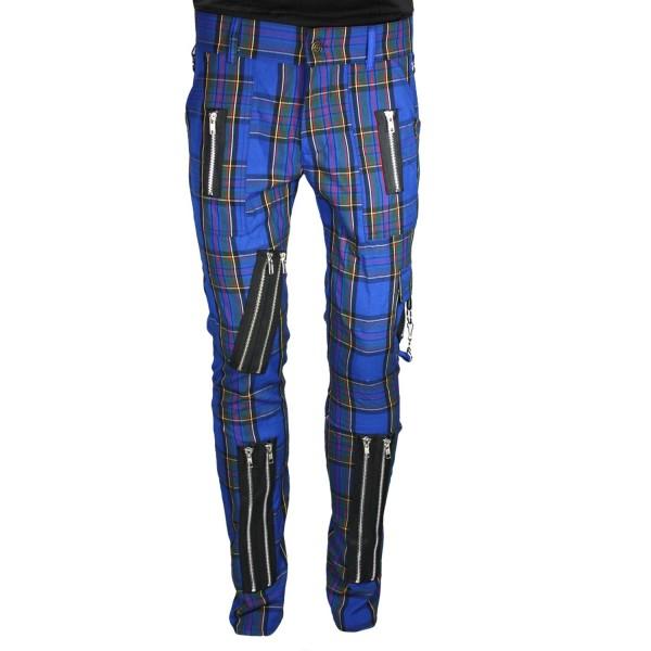 Chaos Punk Blue Tartan Punk Trousers