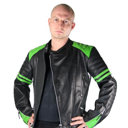 Retro Lederjacke Old School black green Gr S B-Ware