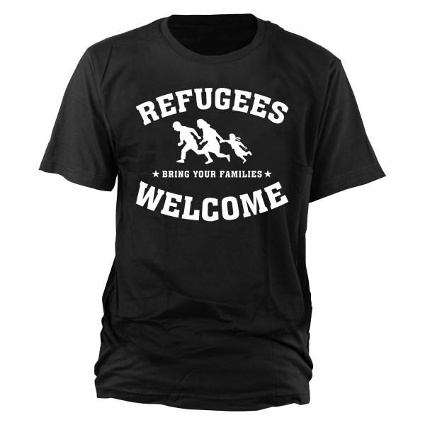 Refugees Welcome T-Shirt schwarz (weißer Druck)