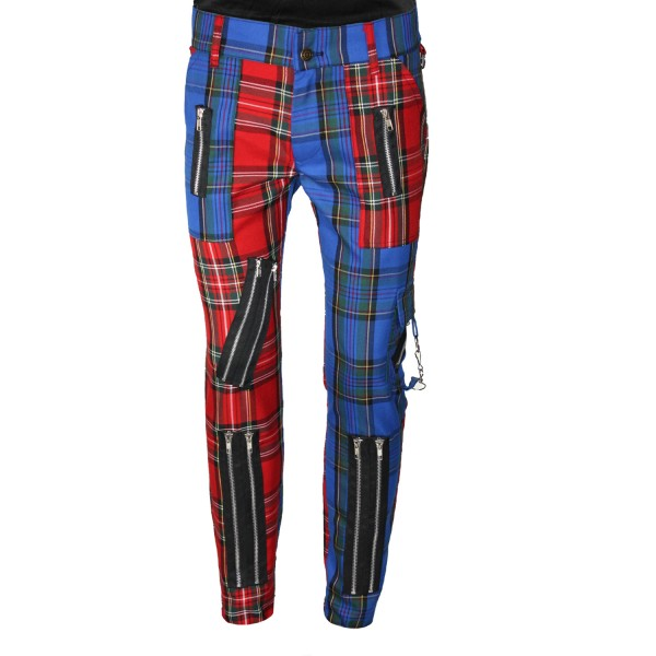 Chaos Punk red & blue Tartan Punk Trousers