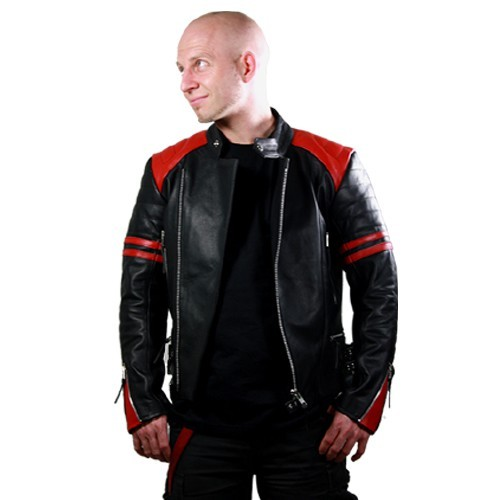 Retro Lederjacke Old School black red Gr S B-Ware