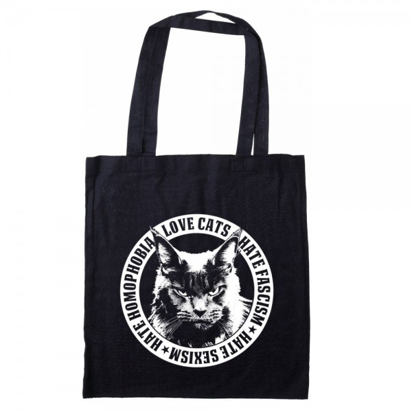 Love Cats - Hate Facism Stofftasche