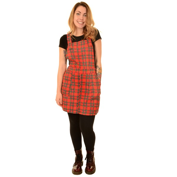 Tartan Pinafore Dress red