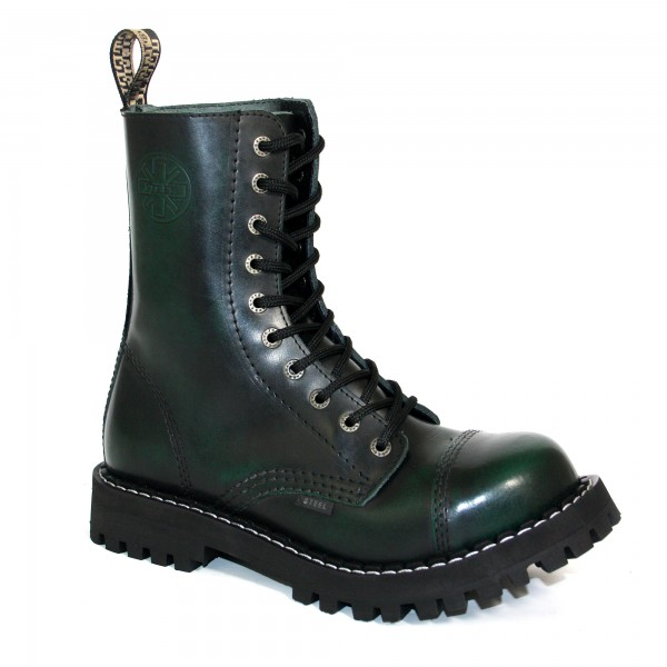 Steel Boots 10-loch green rub-off