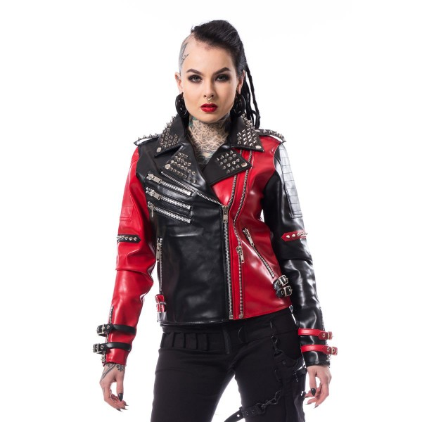 Asylum Vegan Biker Jacket Ladies Black+Red