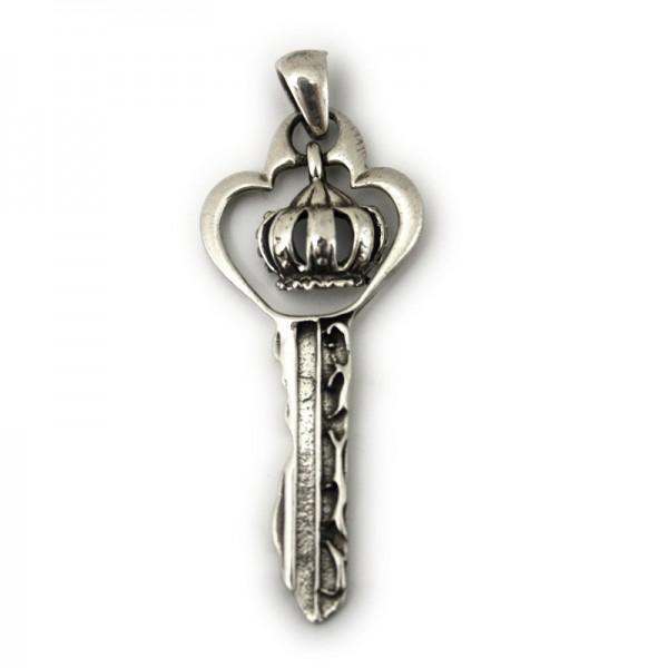 Silber Anhänger Schlüssel mit Krone