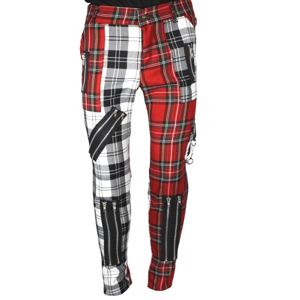 Chaos Punk White/Red Tartan Punk Trousers