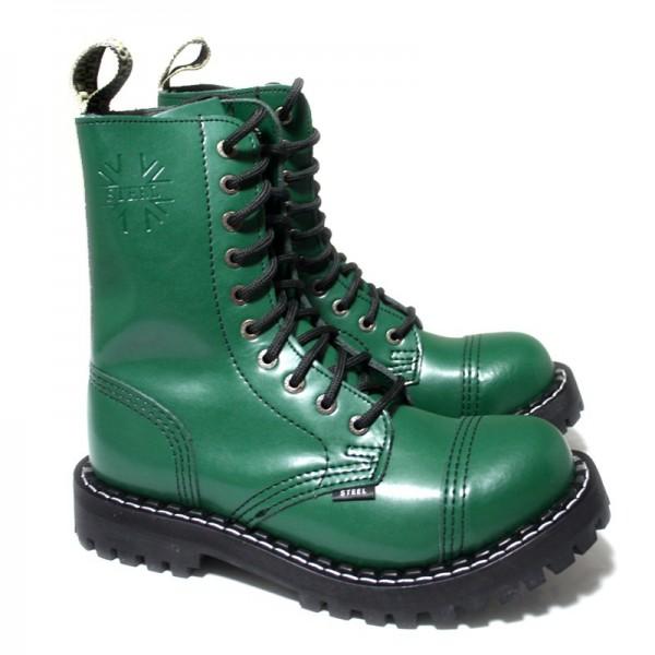 Steel Boots 10-Loch, Pure Green