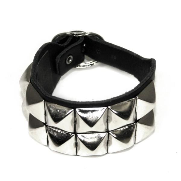 Pyramidennieten Armband 2-reihig