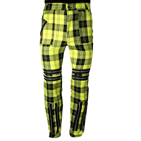 Classic Yellow Shark Tartan Punk Trousers