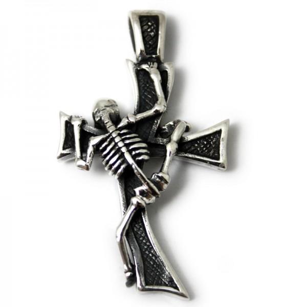Silber Anhänger Skelett Kreuz