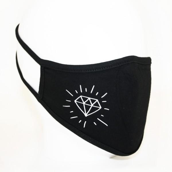 Mund Nase Maske Diamant schwarz