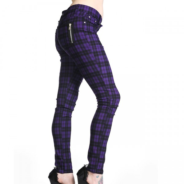 Banned Purple Check Skinny Jeans