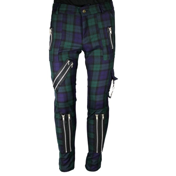 Chaos Punk Green Blue Punk Trousers