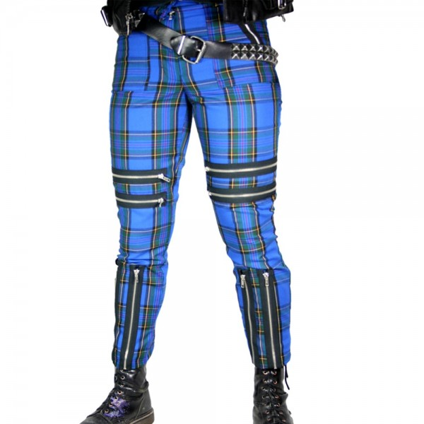 Classic Shark Blue Tartan Punk Trousers