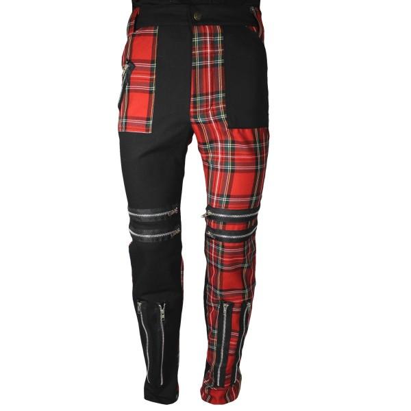 Classic Black & Red Shark Tartan Punk Trousers